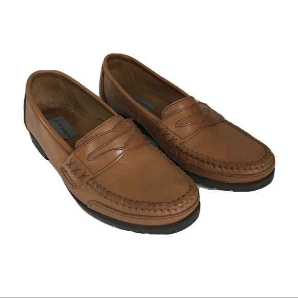 Levis Mens Leather Loafers Hand Stitch Toe Sz 10.5
